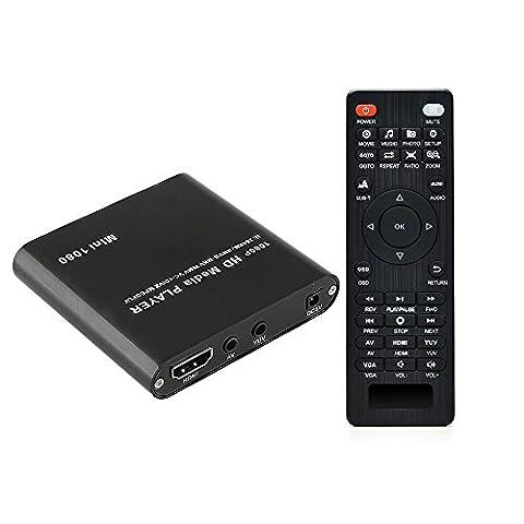 HDMI Media Player, AGPtek Black Mini 1080p Full-HD Ultra HDMI Digital Media Player for -MKV/RM- HDD USB Drives and SD (Tv Card With Hdmi)