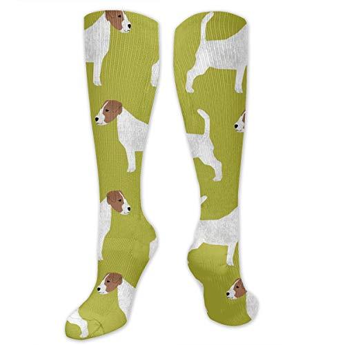 AKNBSocks3 Jack Russell Terrier Ribbon Compression Socks Men & Women - Medical Graduated - Prevent Swelling & DVT Training, Flight Travel, Sedentary Lifestyle - Perfect Maternity & Pregnancy