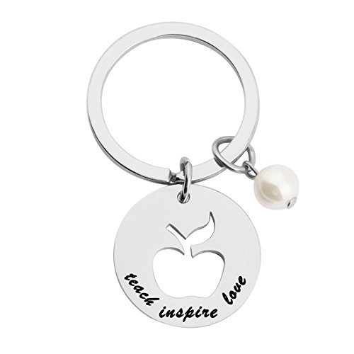 Teach Love Inspire Necklace Keychain Back to School Gift for Teacher (round apple keychain)