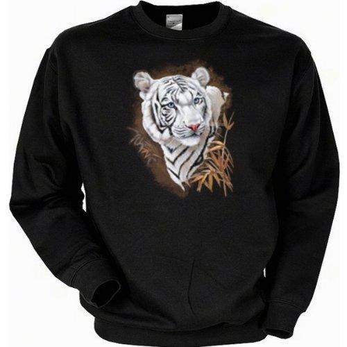 Romantik Wildtiere Weisser Tiger Sweatshirt Gr XXL in schwarz