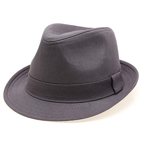Classic Trilby Short Brim 100% Cotton Twill Fedora Hat with Band (Dark Grey, LXL)
