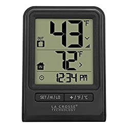 La Crosse Technology 308-1409BT-CBP 308-1409BT Wireless Temperature Station with Time, Black
