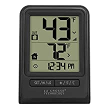 La Crosse Technology 308-1409BT-CBP Wireless Temperature Station with Time, Black