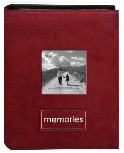 Pioneer Photo Albums PTCH-100 Embroidered Patch Faux Suede 100-Pocket Photo Album, Raspberry
