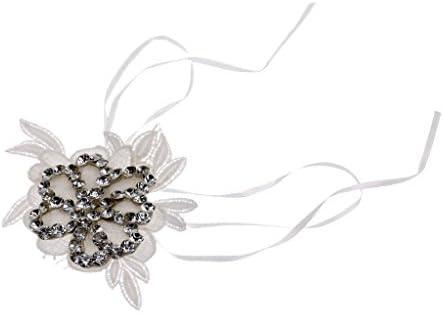 クリスタルアップリケレース手首コサージュブライダルブレスレット結婚式のお祝いの手の花