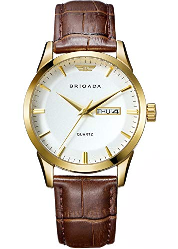 Date Swiss Automatic Watch - BRIGADA Swiss Brand Classic Gold Men's Dress Watch for Men with Date Calendar, Business Casual Quartz Men's Watch Waterproof