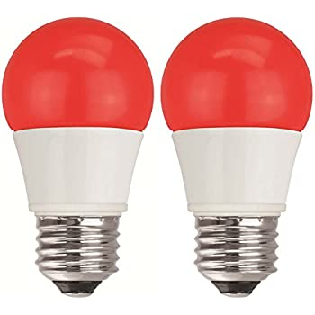 TCP 40W Equivalent, Red LED A15 Regular Shaped Light Bulbs, Non-Dimmable (2 Pack)