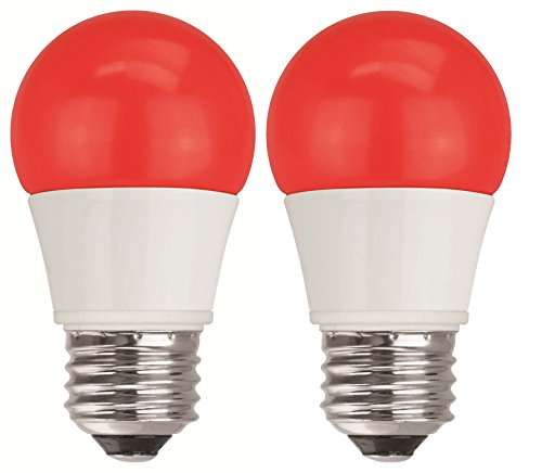 TCP 40W Equivalent, Red LED A15 Regular Shaped Light Bulbs, Non-Dimmable (2 Pack) -