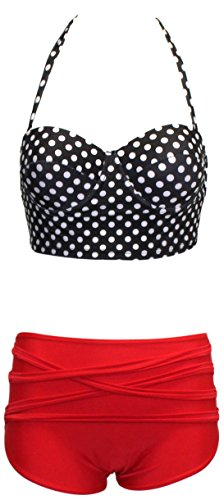 Vintage-Inspired Retro Pinup Girl Style High Waist Bikini Swimwear Set (Small, Black & White Polka Dot Bustier Top with Red High Waist Bottoms with Criss-Cross Straps)