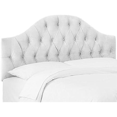 Skyline Furniture Diamond Tufted King Panel Headboard In Velvet White