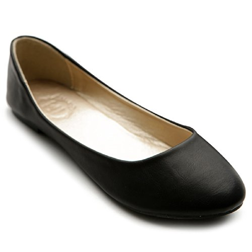 Ollio Womens Shoe Ballet Basic Light Comfort Low Heel Flat M1009 (7.5 B(M) US, Black)