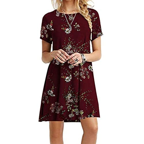 Quealent Womens Dresses Womens Summer Cold Shoulder Tunic Top Swing T-Shirt Loose Dress with Pockets