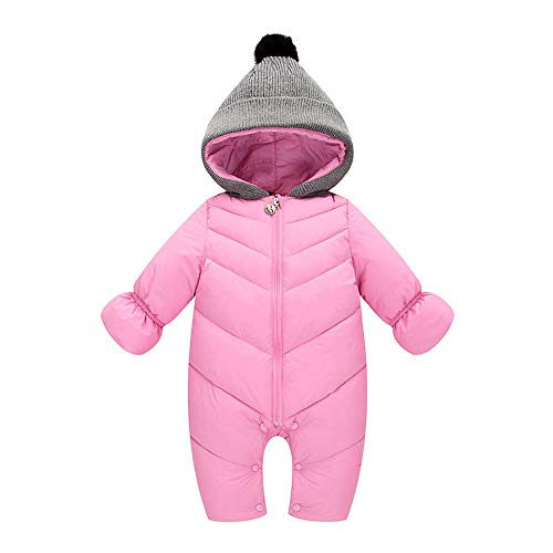 Organic Creeper - Baby Boys Girls Jumpsuit Hoodie Romper Outfit Thick Warm Long Sleeve Creepers Bodysuit Winter Clothes (3-6 Months, Pink)