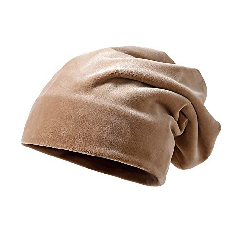 Clearance DEATU Solid Color Hat Unisex Warm Knit Hat Thick Velvet Wrap Cap Men Women Hats Special Promotion(Khaki,One Size) from DEATU