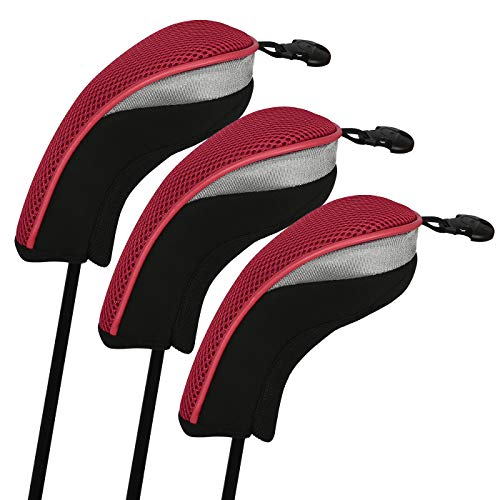 HDE Universal Golf Club Head Covers Replacement Driver Fairway Wood with Interchangeable Tags (Set of 3, Red)