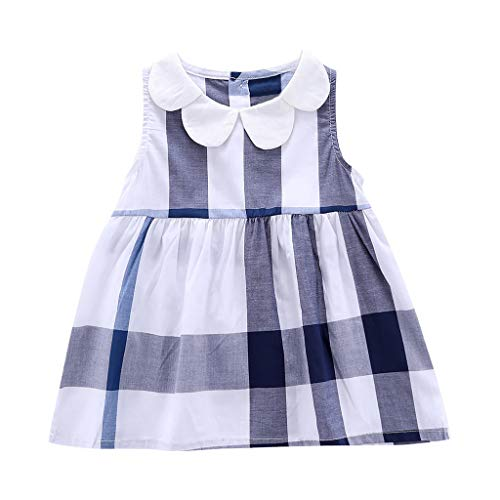 Hstore Toddler Kid Baby Girl Small Fresh Plaid Printed Party Princess Dress Clothes Fashion Cute Blue