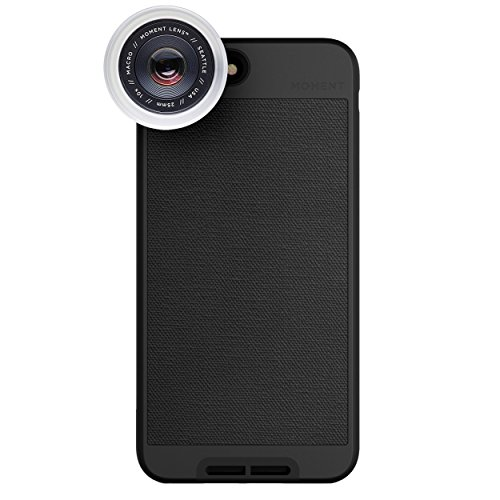 iPhone 8 Plus / iPhone 7 Plus Case with Macro Lens Kit || Moment Black Canvas Photo Case plus Macro Lens || Best iphone macro attachment lens with thin protective case. by Moment