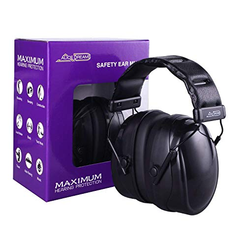 Professional Safety Ear Muffs, Alice Dreams Premium Noise Reducing Headphone, COMFORTABLE Ear Protection 36dB NRR Soft PVC Ear Cups for Shooting, Hunting, Studying & Operating Machinery ()