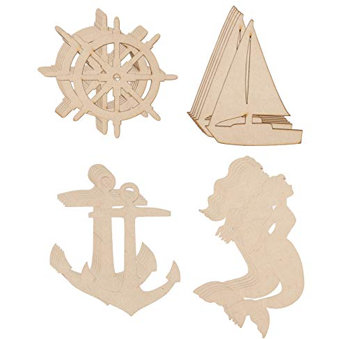 Wood Cutouts - 24-Pack Unfinished Wooden Cutouts, Ship's Wheel, Yacht, Anchor, Mermaid Shapes for DIY Arts and Crafts Projects, Decorations, Ornaments, 6 of Each -