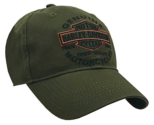 Harley-Davidson Men's Embroidered Long Bar & Shield Baseball Cap, Olive BCC31253