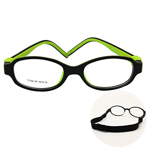 EnzoDate Kids Optical Eyeglasses Size 46/16 No Screw Bendable, Children Glasses Frame, Teens Glasses, TR90 & Silicone Safe Flexible Frame (black/green)