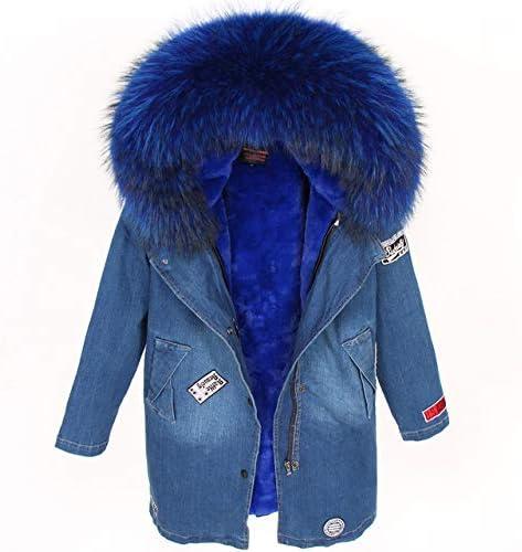 Shoubang Manteau Parka En Fourrure De Denim D\'hiver Lady Chapeau Naturelle Véritable Doublé Laine Raccoon-lining-6-s
