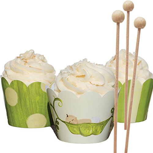 Sweet Pea Baby Shower Cupcake Wrappers for Boy or Girl, Gender Neutral Green and Yellow Cupcake Decorations, Wooden Lollipop Sticks, Confetti Couture Party Supplies, Kit of (Easy Halloween Cupcake Decorating Ideas)