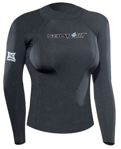 NeoSport Wetsuits Women's XSPAN Long Sleeve Shirt, Black, 14 - Diving, Snorkeling & Wakeboarding by Neo-Sport