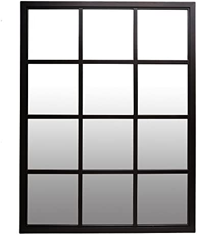 Patton Wall Decor 23×30 Classic Black Windowpane Mirror