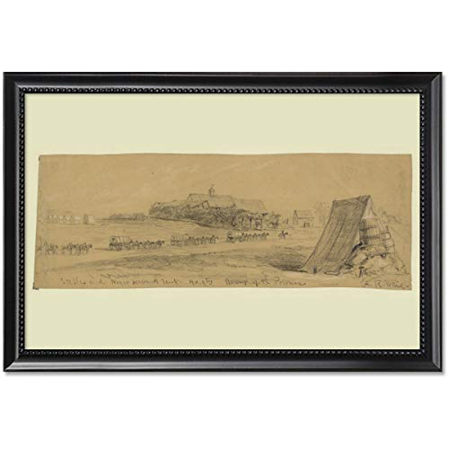 ClassicPix Framed Print 11x17: Stables and Negro Servants Tent, Hd.qtrs Army of The Potomac, 1863