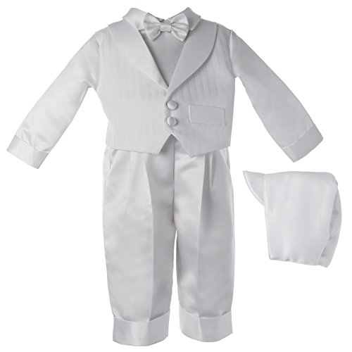 Haddad Brothers Baby-Boys Newborn Christening Baptism Special Occasion Satin Long Pants with Striped Shawl Collar Vest, White, 9-12 ()