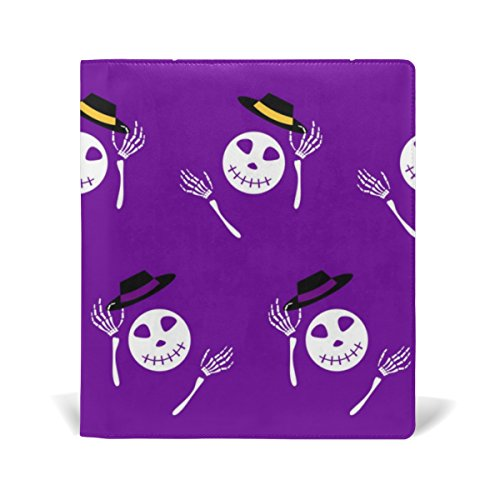 Reusable Leather Book Cover Halloween Cartoon Skeleton with Hats Durable School Book Protector Fits up to 9x11 inch