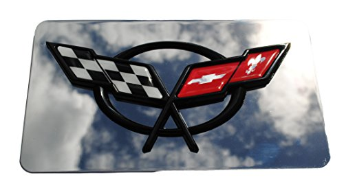 (Mirror Metallic Exhaust Plate Cross Flag Emblem Logo Fits Corvette C5)