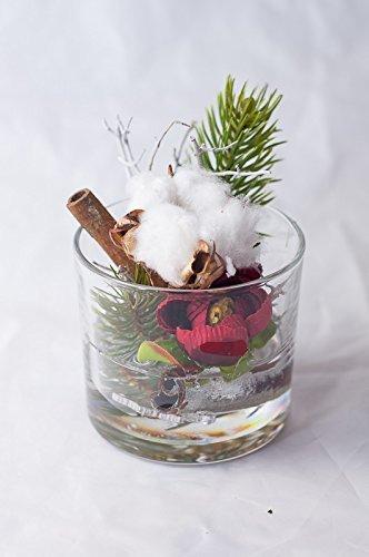 Weihnachtliches Glas Mit Baumwolle U Ranunkel Tischgesteck