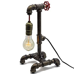 "Loft Style Lamp with Dimmer, Dimmable Steampunk Industrial Vintage Antique Style Light, Iron Piping Aged Rustic Metal Desk Lamp, Y-Nut ""Fisherman"" (Black) QTF-TB01-BLK"