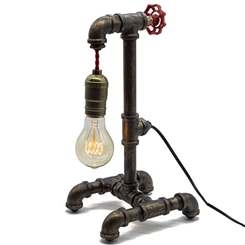 Loft Style Lamp with Dimmer, Dimmable Steampunk Industrial Vintage Antique Style Light, Iron Piping Aged Rustic Metal Desk Lamp, Y-Nut Fisherman (Black) QTF-TB01-BLK