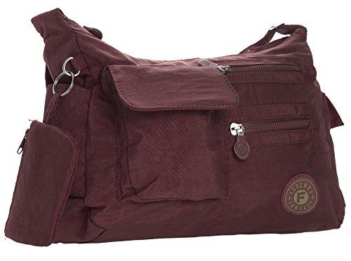 Unisex Bag Cross Medium Multipocket Rainproof Handbag Body Shop Big Medium Size Lightweight Burgundy Fabric Messenger wBRPqaU