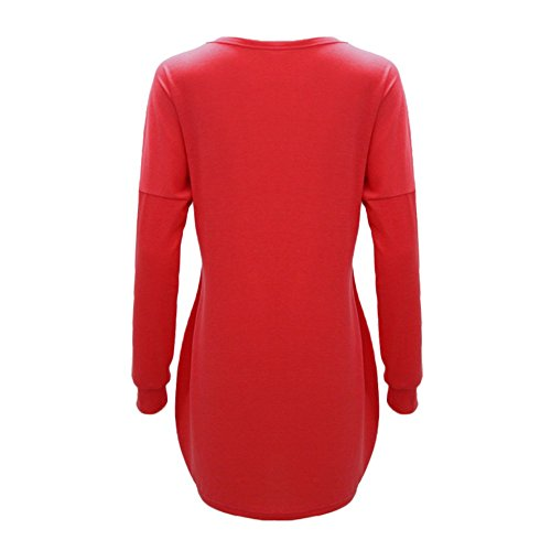 Red Longues Chemisier Rond Rayures wuayi Femme Col Manches Blouson Y8aRwwqv