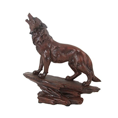 Animal Wildlife Howling Wolf Faux Carved Wood Figurine (Wood Wolf compare prices)