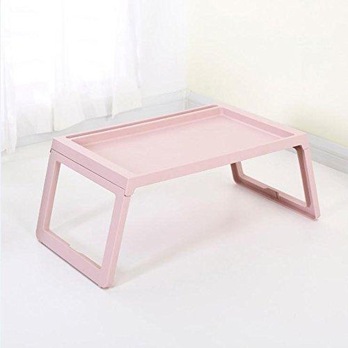 GFL Laptop Desk Plastic Dorm Artifact Folding Table Lazy Office Bed Desk Computer Tables (Color : Beige) by GFL