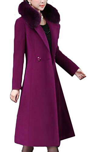 FLCH+YIGE Womens Lapel Long Sleeve Faux Fur Collar Wool Blend Long Pea Jacket 1 M -