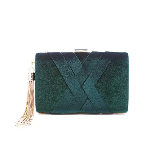 LeahWard Women's Tartan Stripe Clutch Bag Wedding Purse Tassel Handbags Evening Bags Dark Green