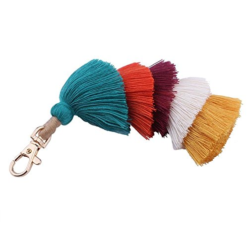 ohemian Tassel Bag Charm Keychain Handbag Pendant (Multicolored - green) ()