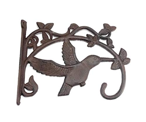 (Aunt Chris' Products - Large Cast Iron Basket Hanger - Hummingbird On Ivy - Scroll Work Design - Rustic Bronze - Indoor or Outdoor Use )