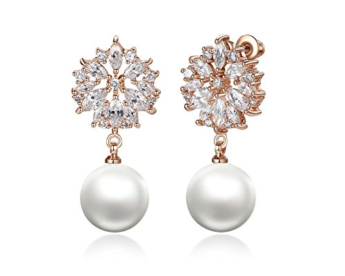 Aretes Rose Gold Plated Drop Pearl Earrings With Sparkling Aaa Cz Zircon Fashion Wedding Jewelry For Women  Gold  Ar0022