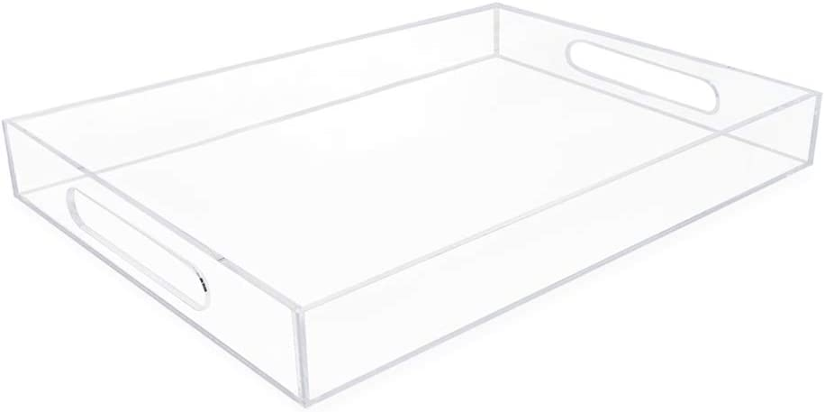 Isaac Jacobs Clear Acrylic Serving Tray (11x17) with Cutout Handles, Spill-Proof, Stackable Organizer, Space-Saver, Food & Drinks Server, Indoors/Outdoors, Lucite Storage Décor & More