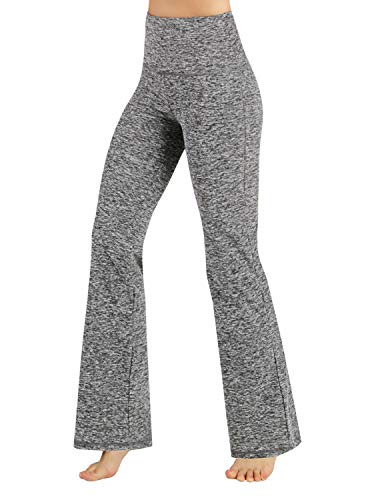 ODODOS Power Flex High Waist Boot-Cut Yoga Pants Tummy Control Workout Non See-Through Bootleg Yoga Pants,GrayHeather,Small