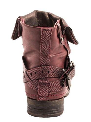 stivaletti Boots Donna Elara in Rosso Metallic Prints Fibbie bordeaux foderato pelle sintetica Rivetti Biker U0FFqnwg