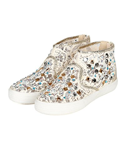 Nature Brezza Cc24 Donna Maglie Media Maglia In Pizzo Crochet Strass Alta Top Sneaker - Similpelle Beige