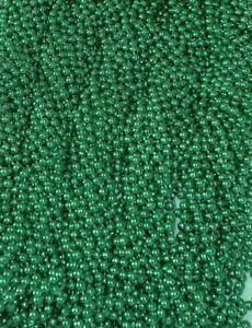 18 Dozen (216) Mardi Gras Beads St Patricks Day Green Necklaces Lot Party Favors